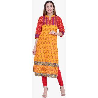 Varkha Fashion Women's Yellow Printed Long Straight Stitched Kurti