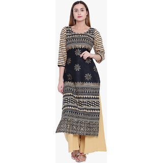 Varkha Fashion Women's Black Graphic Print Long Straight Stitched Kurti
