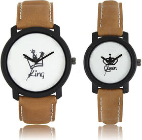 DS FASHION White Dial Brown Leather Strap Couple Watch-