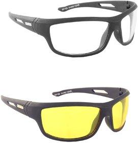 Austin White Yellow Night Vision Wrap-around Unisex Sunglasses Set Of 2