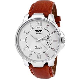 Asgard Round Dail Brown Leather StrapMens Quartz Watch For Men