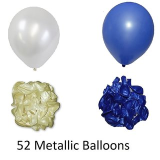 52 Pieces Blue And White Metallic Balloons For Birthday Decorations
