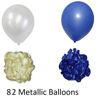 82 Pieces Blue and White Metallic Balloons for Birthday decorations