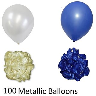 100 Pieces Blue And White Metallic Balloons For Birthday Decorations