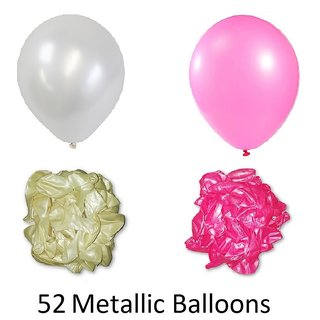 52 Pieces Pink and White Metallic Balloons for Birthday decorations