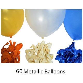 60 Pieces Blue White and Goldish Orange Metallic Balloons with for Birthday decorations