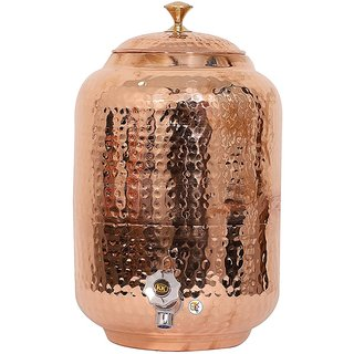 Handmade Healthy Pure Copper Matka Water Pot Pitcher Pot Water Tank Capacity - 8000 ML for Water Drinking and Storing P