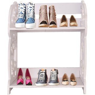 Mangowood Pure Wooden Shoe Rack for Office Home 2 Layer Wooden Shoe Rack Portable Shoe Rack / Shoe Cabinet / Shoe Orga