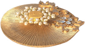 Loops n knots Golden Wedding/ Engagement Ring Ceremony Platter With Single Ring Holder (rp126)