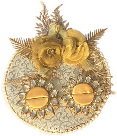 Loops n knots Golden Wedding/ Engagement Ring Platter With 2 Ring Holders (rp128)