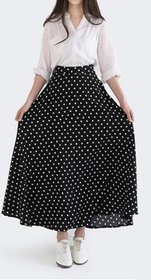 Raabta Black Dotted A-line Skirt for Women