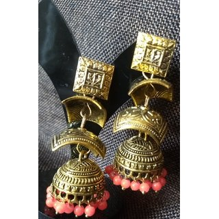 Rewazcreations Gold Plated Blue Alloy Jhumkis For Women