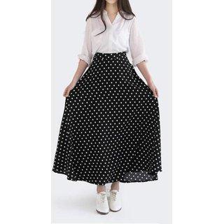 Raabta Black Dotted A-line Skirt for Women