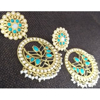 Rewazcreations Gold Plated Silver Alloy Dangle Earrings For Women