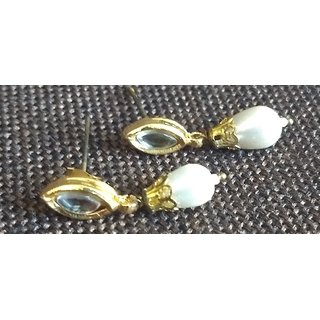 Rewazcreations Gold Plated White Alloy Studs For Women
