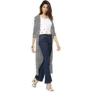 Raabta Black N White Strip Long Shrug