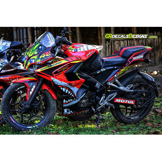 CR Decals PULSAR RS 200 Full Body Wrap Custom Decals VR46 SHARK Inspired Kit
