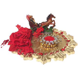 Loops n knots Red  Golden On Cart Wedding/ Engagement Ring Platter With Single Ring Holder (rp130)