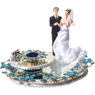 Loops n knots Blue  Silver Wedding/ Engagement Ring Platter With Single Holder (rp132)