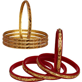 Lucky Jewellery Gold Plated Gold Alloy Bangles for Women's - Combo Set Pack Of 2
