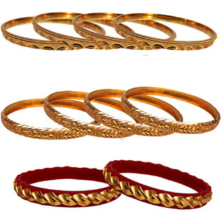 Lucky Jewellery Gold Plated Gold Alloy Bangles for Women's - Combo Set Pack Of 3