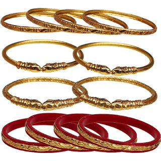Lucky Jewellery Gold Plated Gold Alloy Bangles for Women's - Combo Set Pack Of 4
