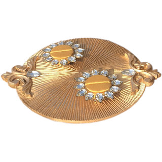 Loops n knots Golden Wedding/ Engagement Ring Ceremony Platter With 2 Ring Holder (rp125)