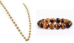 Tiger Eye Stone Big Beads 12MM Bracelet with Gold Plated Rudraksha Mala