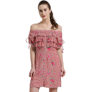 9e2bf69eceb386 Buy Texco Women Red   White Off Shoulder Striped Ruched Sleeve Dress Online  - Get 59% Off