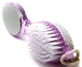 Kudos  NEW-4 in 1 Multi-use Foot Care Brush Pumice Scrubber Pedicure Tool Set Pack Of 1 ( Multi color )