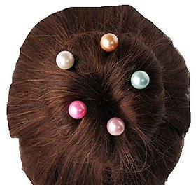 STRIPES Hair Pins Simulated Pearl Spiral Spin Screw Bun Clip 5 Pieces for Women /Girls
