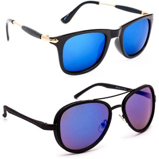 0b20470c754 TheWhoop New Combo Mirror Blue Unisex Wayfarer And Aviator Sunglasses  Goggles For Men