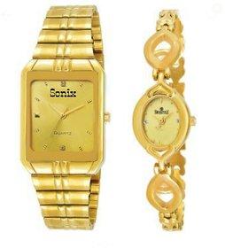 Sonix Golden Rectangle Men- Ladies Designer Watch