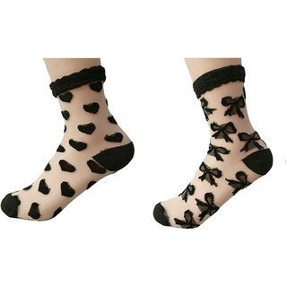 DDH Women's Transparent Socks (Pack of 2) - Party wear Collection