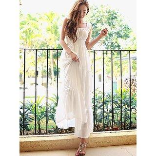 Raabta White Maxi Long Dress with Boat Neck