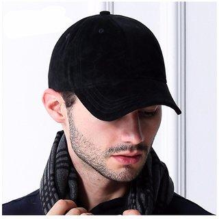 Babji Fashionable Look Solid Black Plain Stylish Cotton Cap