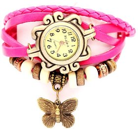 Vintage leather watch pink