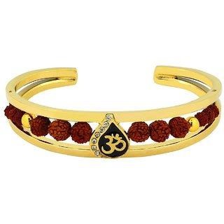 Fashionable Rudraksh Gold Plated Om Leaf Cuff Kada Bangle Bracelet for Men and Boys