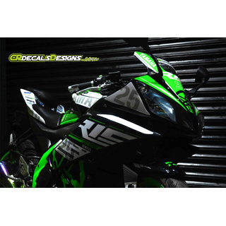 YAMAHA R15 V2 Full Body Wrap Custom Decals/Stickers MOTOGP 25 Inspired RACE Kit-GREEN
