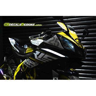 YAMAHA R15 V2 Full Body Wrap Custom Decals/Stickers MOTOGP 25 Inspired RACE  Kit-YELLOW