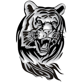 Futaba Creative Tiger Car Hood Sticker - 60 Cm - Black