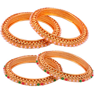 Chrishan Gold Plated Marvelous Fasionable Stylish Combo of Pearl Bangle Set For Women.