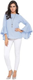 Women's Sky Blue Bell Sleeves Polyester Top