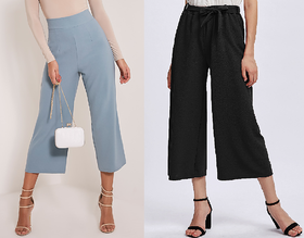 Combo Of Blue And Black High Waist Culottes Pants