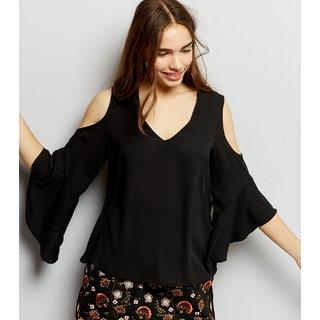 Fabrange Black Plain V-Neck Polyester Cold Shoulder Top