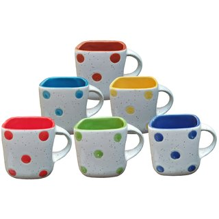 Somny Tea Cup Set Premium Quality For Ceramic Sqware Shaped Multi Colour Doted Print Inside Multi Colour Nice Look Per C