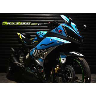 YAMAHA R15 V2 Full Body Wrap Custom Decals/Stickers VR46 SHARK Edition Kit-Blue