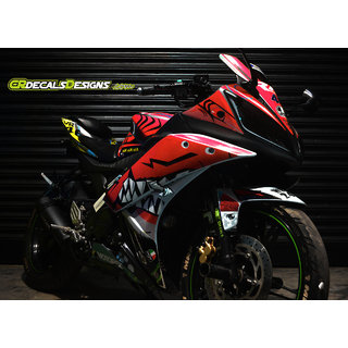Yamaha R15 V2 Full Body Wrap Custom Decals Stickers Vr46 Shark Edition Kit Red
