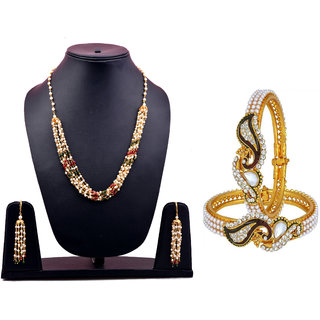 Chrishan Gold Plated Marvelous Fasionable Stylish Combo Of Peacock Bangle And Necklace Set For Women.
