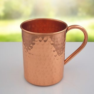 Tariq Lifestyle Pure Copper 16 Fluid Ounce Hammered Beer Mug with Copper Pipe Ear Shape Handle